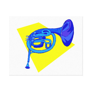 French Horn Blue Version With Yellow Gallery Wrapped Canvas