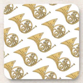 French Horn Musical Instrument Drawing Beverage Coasters