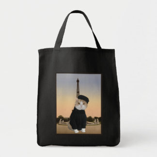 French Kitty Grocery Tote Bag