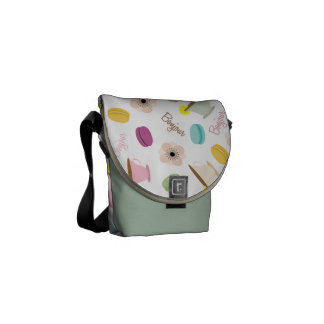 French Macarons Anemones Teacups Mini Messenger Messenger Bags