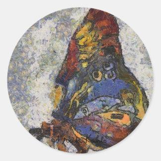 Frida Kahlo Butterfly Monet Inspired Round Sticker