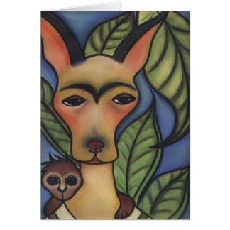 Frida with Monkey Greeting Card