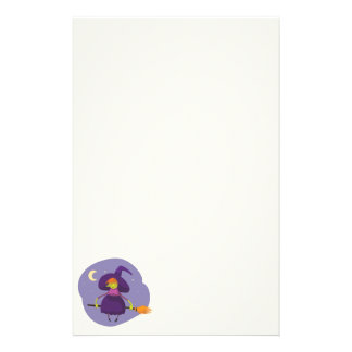 Friendly witch flying on broom at night halloween stationery paper