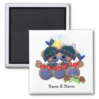 Friendship Bears (personalized) Square Magnet