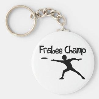 Frisbee Champ Basic Round Button Key Ring