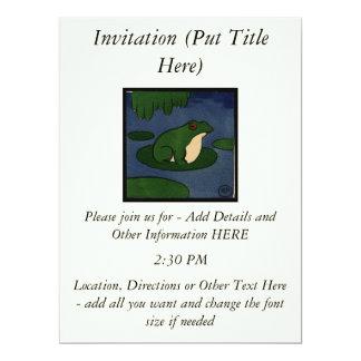 Frog - Antiquarian, Colorful Book Illustration 17 Cm X 22 Cm Invitation Card