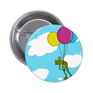 Frog Floating With Balloons 6 Cm Round Badge