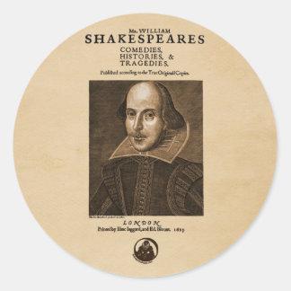 Front Piece to Shakespeare's First Folio Round Sticker