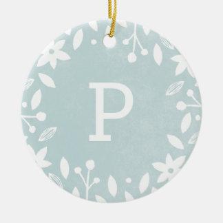 Frosted Foliage Ceramic Ornament - Aqua