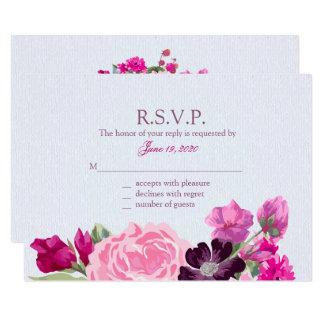 Fuchsia and Plum Floral, Response Cards 9 Cm X 13 Cm Invitation Card