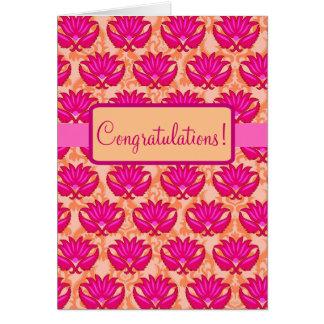 Fuchsia Pink Orange Parisian Damask Congratulation Greeting Card