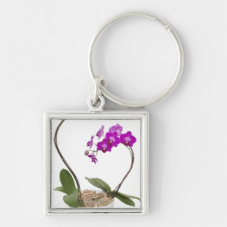 Full frame Orchid isolated on a white background Silver-Colored Square Key Ring
