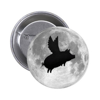 full moon flying pig button