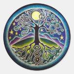 Full Moon Tree of Life Starry Night Mandala Sticke Round Sticker
