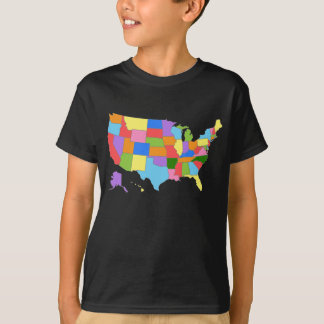 Fun and Colorful Rainbow Map of the USA T Shirt