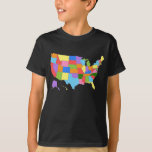Fun and Colourful Rainbow Map of the USA T Shirt