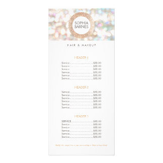 Fun Bokeh and Rose Gold Salon Price List Menu 2 Customised Rack Card