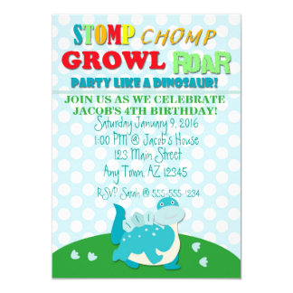 Fun Dinosaur Party Invitation Stegosaurus