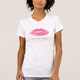 Fun Girly Makeup Artist Pink Sequin Lips Tshirt