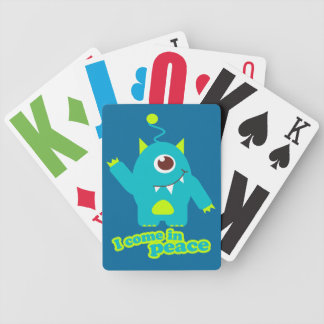Fun kids alien in peace playing cards