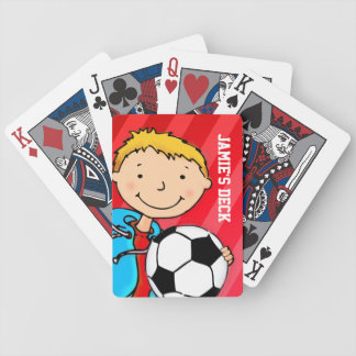 Fun kids red soccer named playing cards
