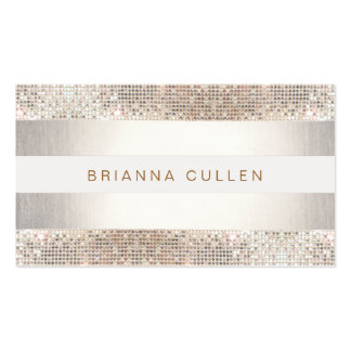 Fun Modern Stripes, Silver Sequin Pack Of Standard Business Cards
