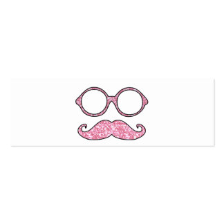 FUN MUSTACHE AND GLASSES, PRINTED PINK GLITTER PACK OF SKINNY BUSINESS CARDS