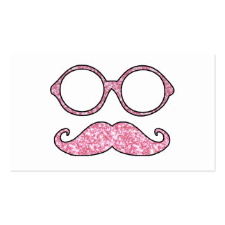 FUN MUSTACHE AND GLASSES, PRINTED PINK GLITTER PACK OF STANDARD BUSINESS CARDS