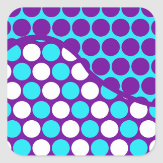 Fun Purple and Teal Polka Dot Wave Pattern Square Sticker
