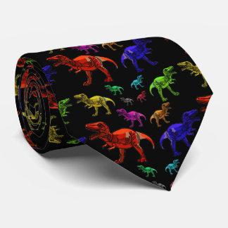 Fun Rainbow T-Rexs Black Men's Tie