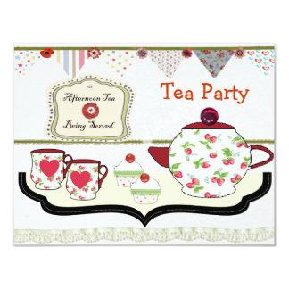Fun Shabby Chic Tea Party Theme 11 Cm X 14 Cm Invitation Card