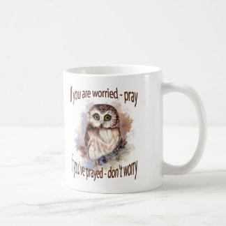 Fun Wise Owl Don't Worry, Pray Quote Basic White Mug