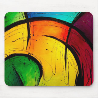 Funky Bright Colors Abstract Art Mouse Pad