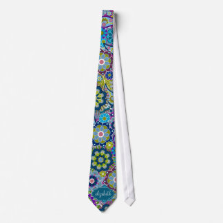 Funky Floral Pattern with Custom Name Tie