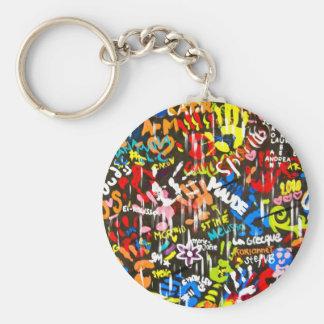 funky graffitis basic round button key ring