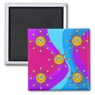 Funky Sun Square Magnet