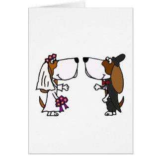 Funny Basset Hound Bride and Groom Wedding Art Greeting Card