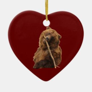 funny bear ceramic heart decoration