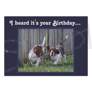 Funny Birthday Card w/Cute Basset Hounds & Balloon