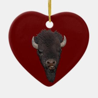 funny bison ceramic heart decoration