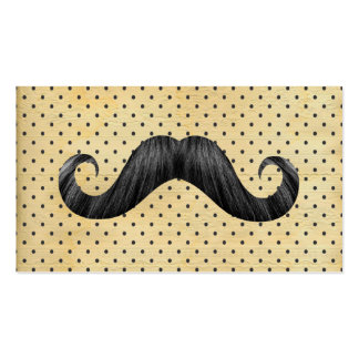Funny Black Mustache On Vintage Yellow Polka Dots Pack Of Standard Business Cards