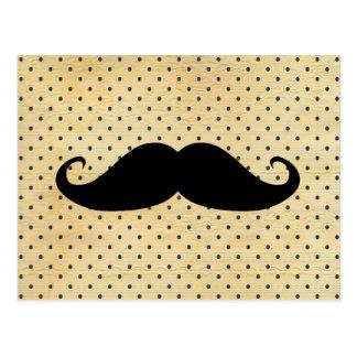 Funny Black Mustache On Vintage Yellow Polka Dots Postcard