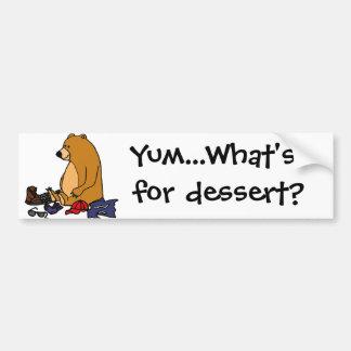 Funny Brown Bear Eating Hiker Cartoon Bumper Sticker
