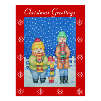 funny carol singers in the snow Christmas art Postcard