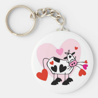 Funny cartoon cow mad love basic round button key ring