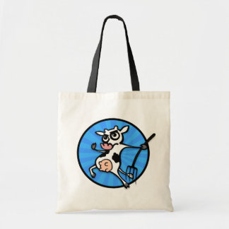 FUNNY CARTOON COW WITH PITCH FORK TOTE BAG