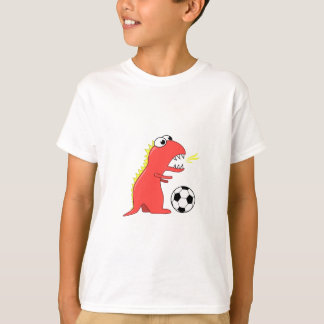 Funny Cartoon Dinosaur Playing Soccer Kids Tshirts