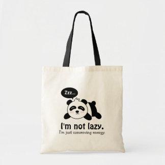 Funny Cartoon of Cute Sleeping Panda Budget Tote Bag