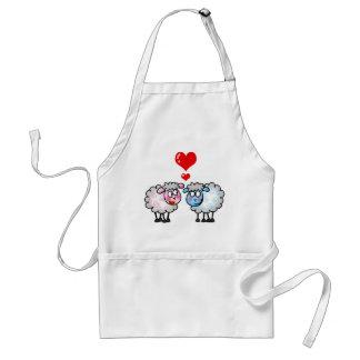Funny cartoon sheeps, Wedding couple Standard Apron