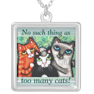 Funny Cat Lover's Cat Art Necklace